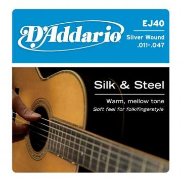 D'Addario EJ40 Set Corde Acustica Silk And Steel Folk 011-047