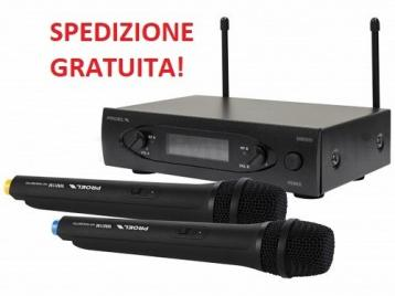 PROEL WM101DM COPPIA DI MICROFONI PALMARI WIRELESS - UHF 863 / 865MHZ<br />