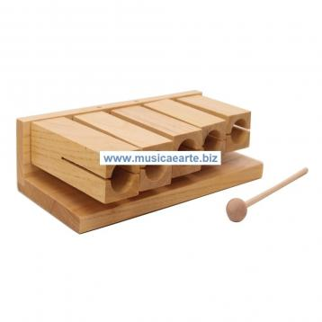 Agogo wood block in legno 5 note con battente