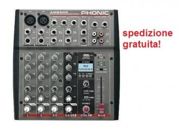 Phonic am220p mixer dj 6 canali  con player usb
