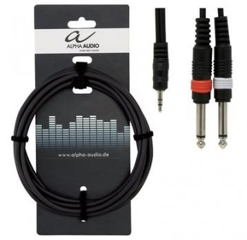 Alpha audio 1x jack stereo 3,5 mm - 2x jack mono 6,3 mm